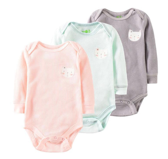 Pink/Grey/Mint Onesie with Printed Kitty - 3 piece Set - Dee Republic