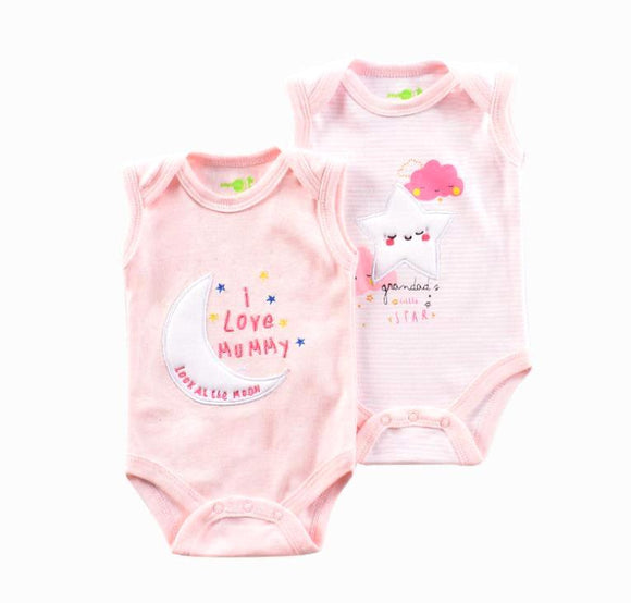 Pretty Pink Moon & Stars Sleeveless Onesie - 2 Piece Set - Dee Republic