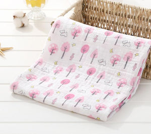 Pretty Pink Trees Soft 100% Organic Muslin Cotton Swaddle Blanket - Dee Republic