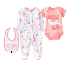 Pretty Pink/White Fox Outfit - 3 Piece Set - Dee Republic