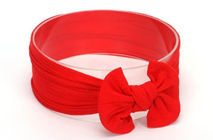 Red Broad Soft Elasticized Baby Headband with Bow - Dee Republic