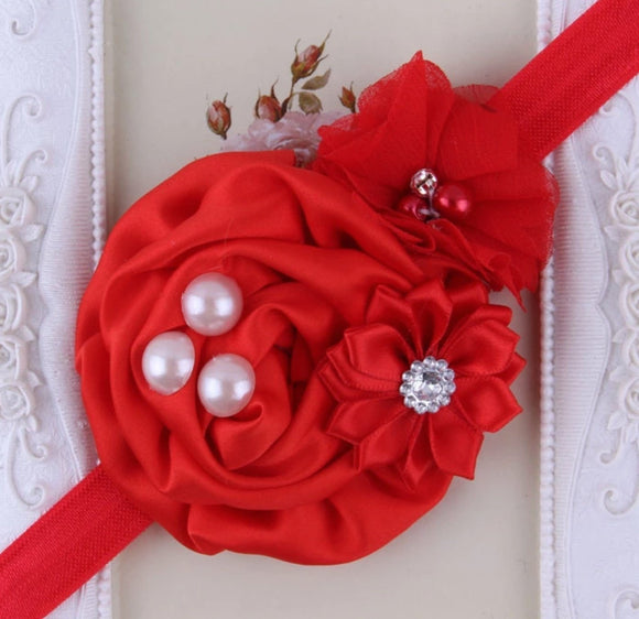 Red Handmade Flower Mix Soft Headband with Crystal & Pearls - Dee Republic