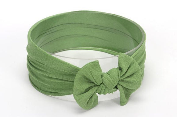 Sage Green Broad Soft Elasticized Baby Headband with Bow - Dee Republic