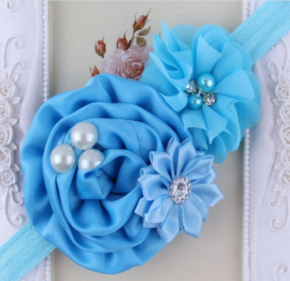 Sky Blue Handmade Flower Mix Soft Headband with Crystal & Pearls - Dee Republic