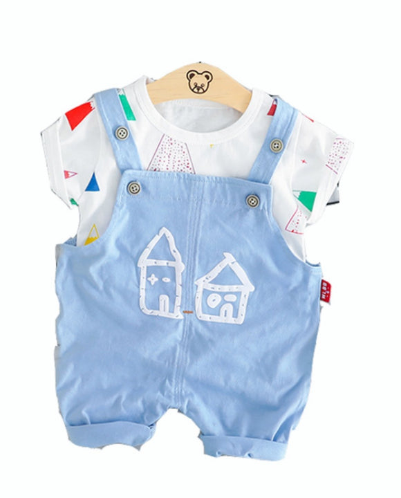 Sky Blue Soft Cotton Dungarees & T-Shirt Set - Dee Republic