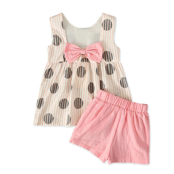 Sleeveless Polka Dot Top with Bow & Shorts - Dee Republic