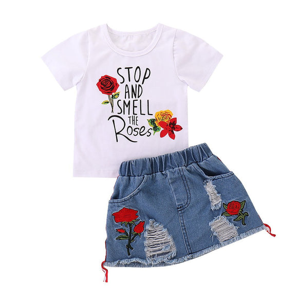 Smell The Roses T-Shirt & Distressed Denim Skirt - Dee Republic