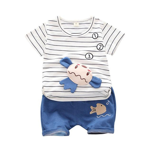 Stripe T-Shirt with 3D Cartoon & Blue Shorts - Dee Republic