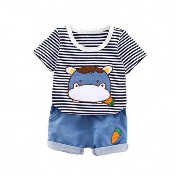 Stripe T-Shirt with Donkey Cartoon & Blue Shorts - Dee Republic