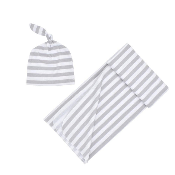 Striped Grey Swaddle Wrap with matching Beanie - Dee Republic