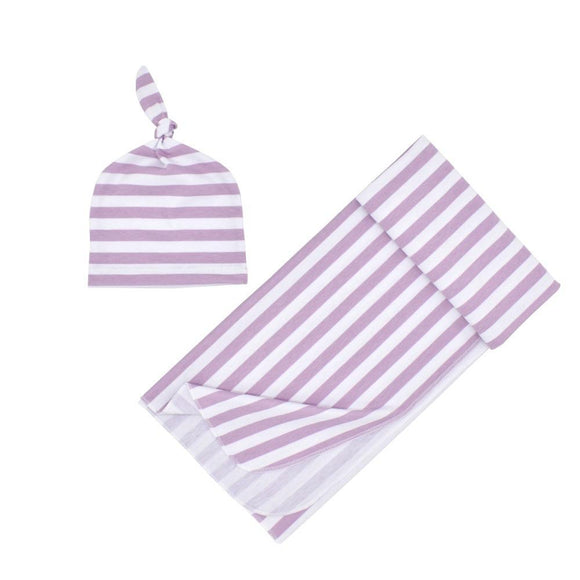 Striped Lilac Swaddle Wrap with matching Beanie - Dee Republic