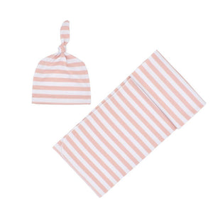 Striped Pink Swaddle wrap with matching Beanie - Dee Republic