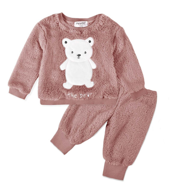 Super Soft Coral Fleece Dusty Pink Teddy Winter Tracksuit - Dee Republic