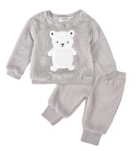 Super Soft Coral Fleece Grey Teddy Winter Tracksuit - Dee Republic
