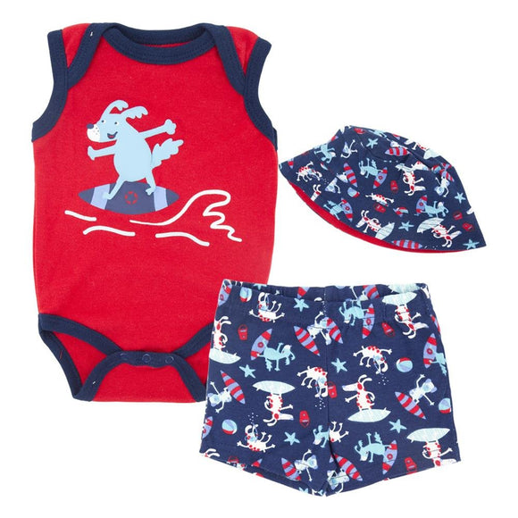 Surfer Dog Baby Boys Beach Summer Set 3 pc - Dee Republic