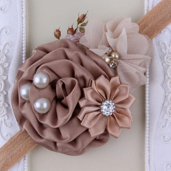 Taupe Handmade Flower Mix Soft Headband with Crystal & Pearls - Dee Republic