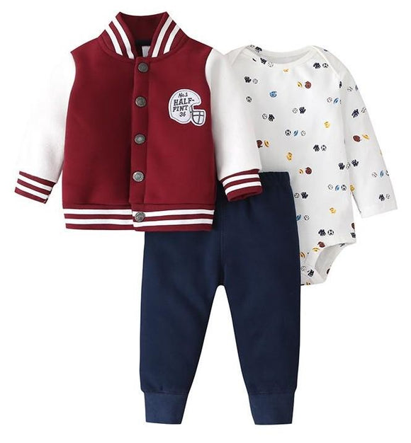 Thick Maroon Baseball Jacket Half Pint Sporty Outfit - 3 piece - Dee Republic
