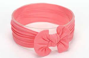 Watermelon Pink Broad Soft Elasticized Baby Headband with Bow - Dee Republic