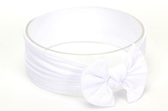 White Broad Soft Elasticized Baby Headband with Bow - Dee Republic