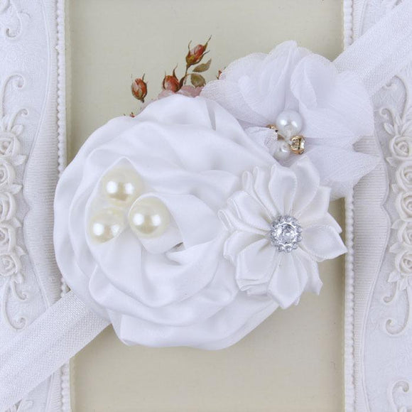White Handmade Flower Mix Soft Headband with Crystal & Pearls - Dee Republic