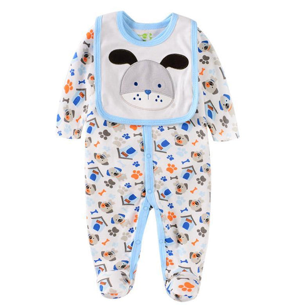 White/Blue Doggy Print Jumpsuit with Bib - 2 piece - Dee Republic