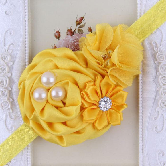 Yellow Handmade Flower Mix Soft Headband with Crystal & Pearls - Dee Republic