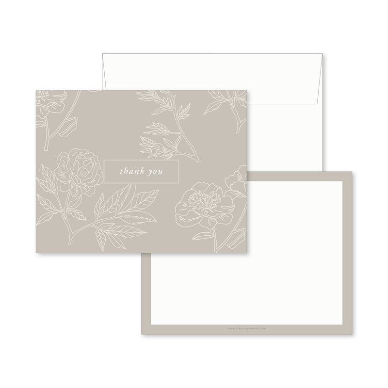Thank You Notes, Grey Floral