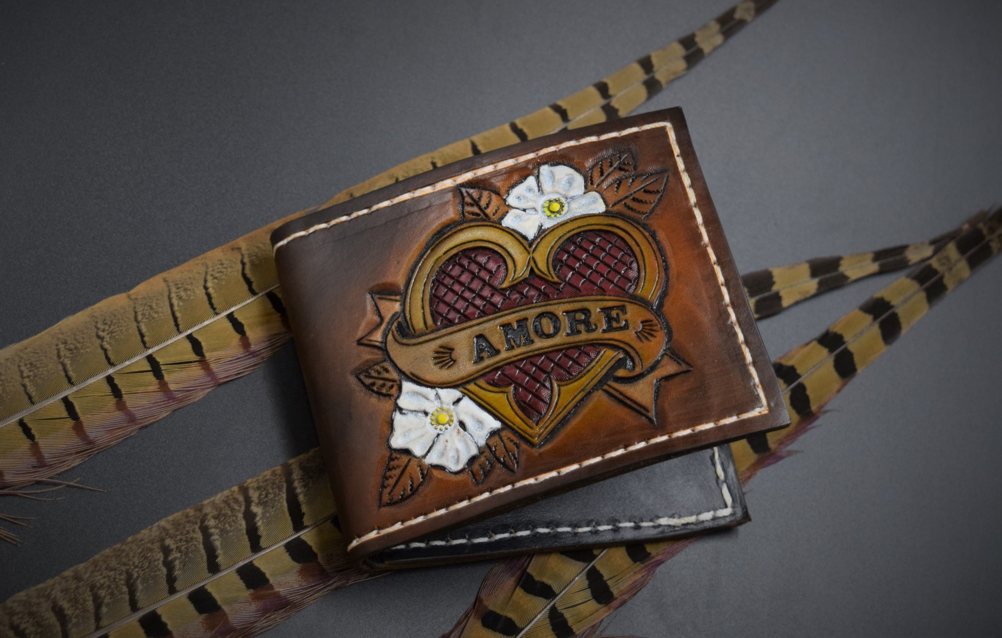 Amore ~love~ traditional tooled leather billfold wallet