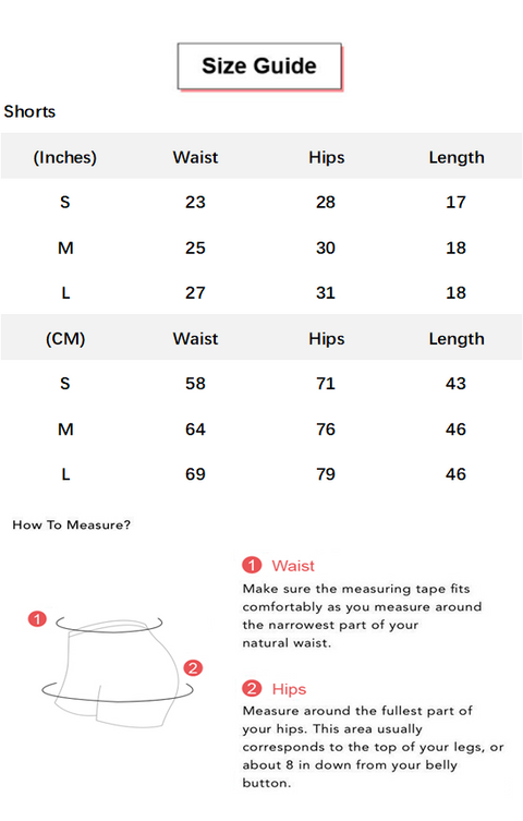Beauty Contour Butt Lifting Fitness Sports Shorts conversion chart & size guide