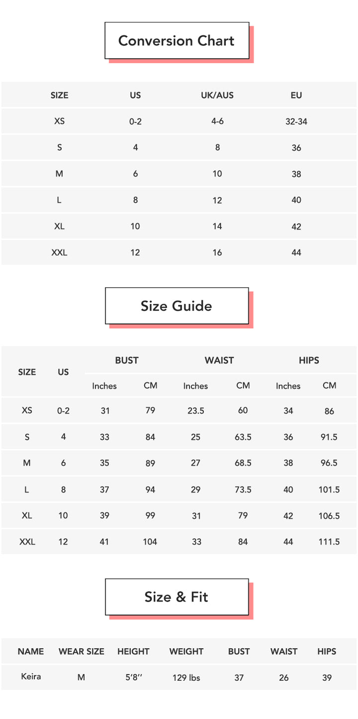 Email Exclusive - All Time Favorite Leggings conversion chart & size guide