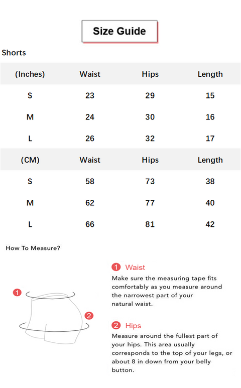 Flaming Deal - Beauty Contour Wide Waistband Sports Shorts conversion chart & size guide