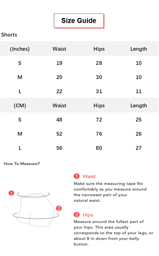 Butt Lifting Elastic Ruched Running Sports Shorts conversion chart & size guide