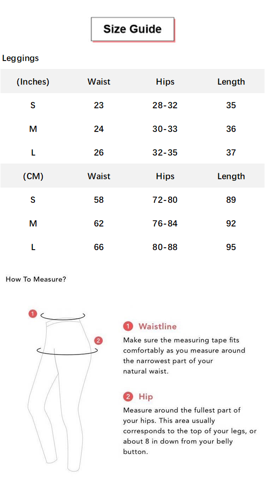 Butt Lifting Tight Seamless Yoga Leggings conversion chart & size guide