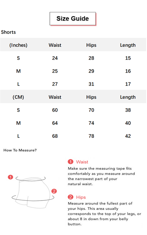 Contrast Stripe Seamless Wide Waistband Sports Shorts conversion chart & size guide