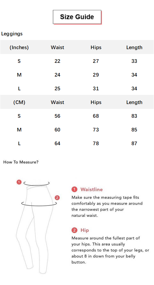 High Waist Butt Lifting Breathable Seamless Workout Leggings conversion chart & size guide