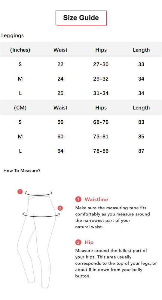 High Waist Compression Ribbed Texture Seamless Leggings conversion chart & size guide