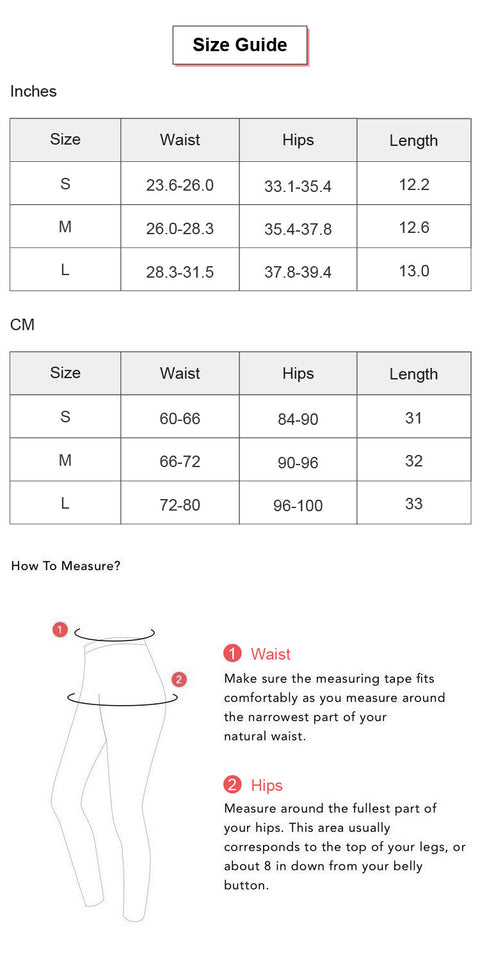 Letter Detail Anti-Peeping Sports Shorts conversion chart & size guide