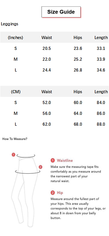Solid Beauty Contour Butt Lifting Sports Leggings conversion chart & size guide