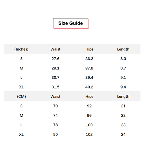 Solid Butt Lifting Compression Fit Shorts conversion chart & size guide