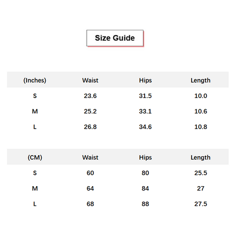Solid Side Drawstring Butt Lifting Active Shorts conversion chart & size guide