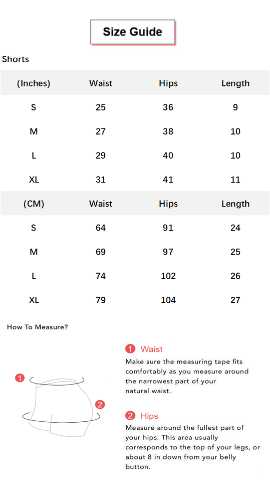 Solid Ruched Tie Side Butt Lifting Shorts conversion chart & size guide