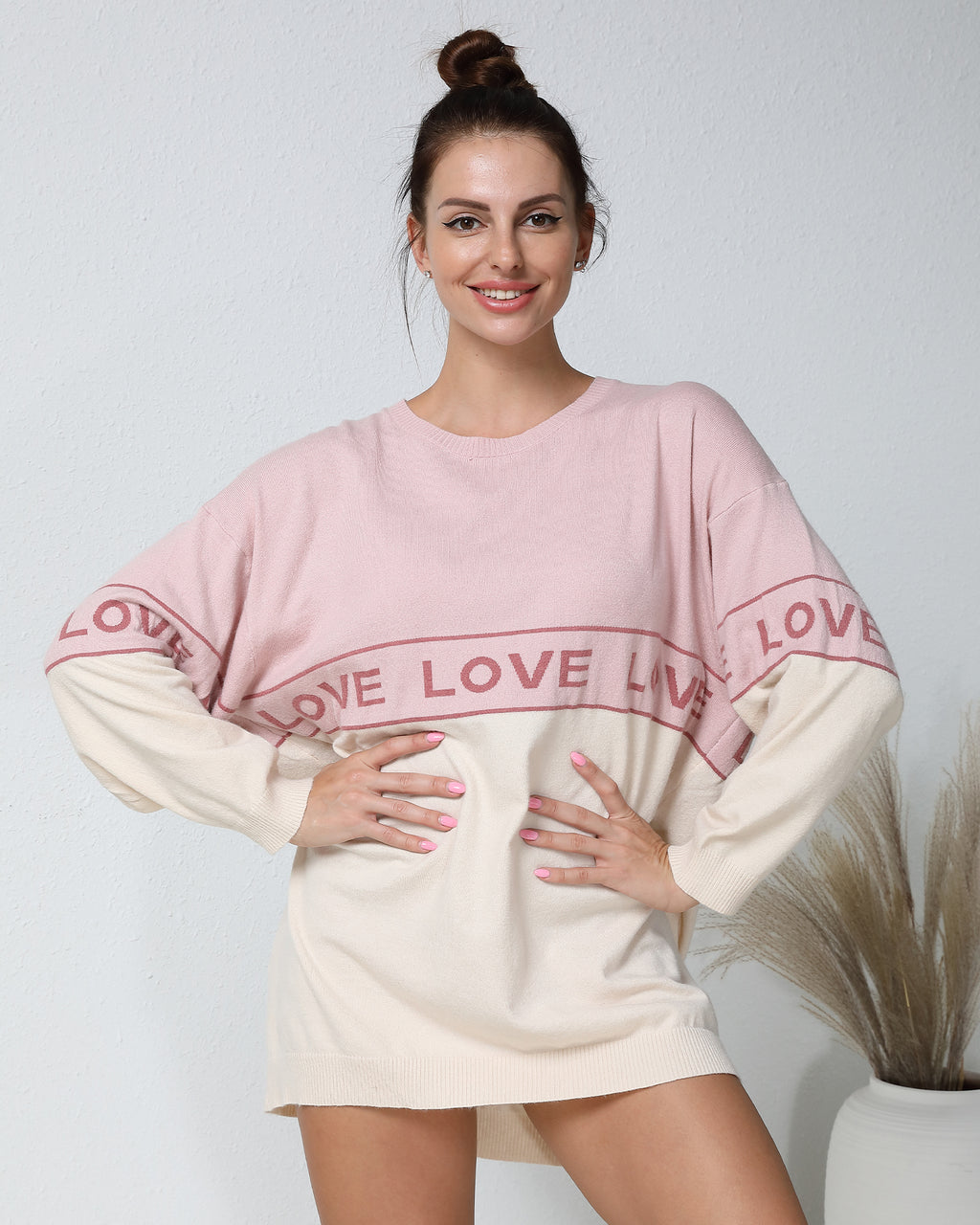 Letter Graphic Color Block Anti-Pilling Sweater