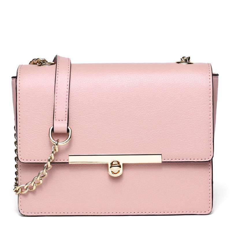 All-Match Fashion Cute Pink Cow Leather Shoulder Bag With Chain