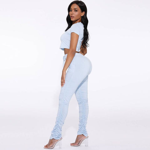 Round Neck Ruched Side Drawstring Waist Top & Pants Set gallery 13