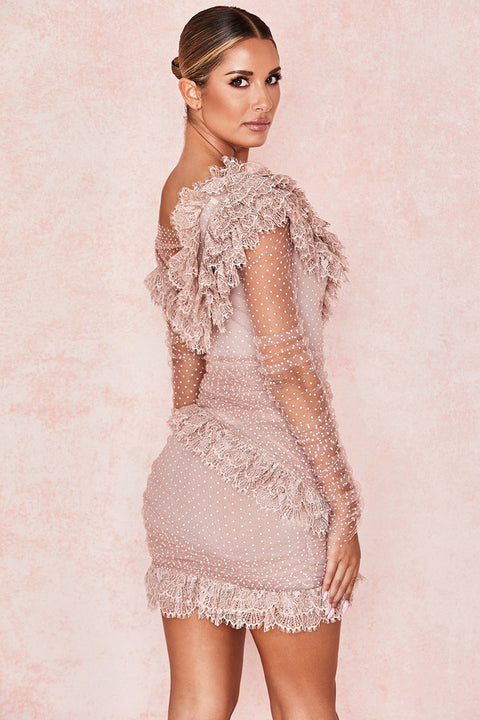 One Shoulder Polka Dot Lace Detail Mesh Ruched Dress gallery 10