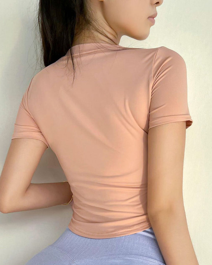 Letter Print Round Neck Crop Sports Top gallery 6