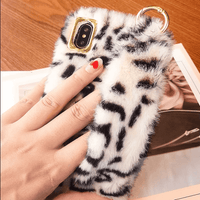 Leopard Print Fur iPhone Case with Wrist Strap