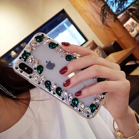 Glittering Rhinestone Side Clear Transparent Phone Case for Samsung gallery 11
