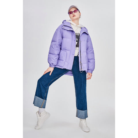 7 Candy Colors Oversized Belted Waist Hooded  Boxy Puffer Jacket
