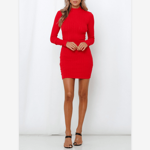 Basic Solid Color Cut Out Wrap Back Ribbed Knitted Dress